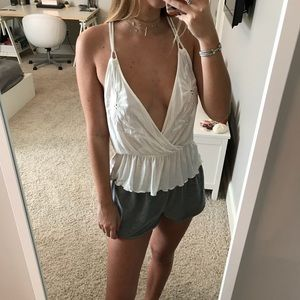 Urban Outfitters Embroidered Peplum Tank - White